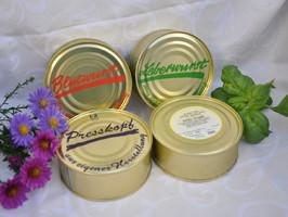 Schmackhafte Dosenwurst, Presskopf, Leberwurst, etc. bei der Metzgerei Emmel